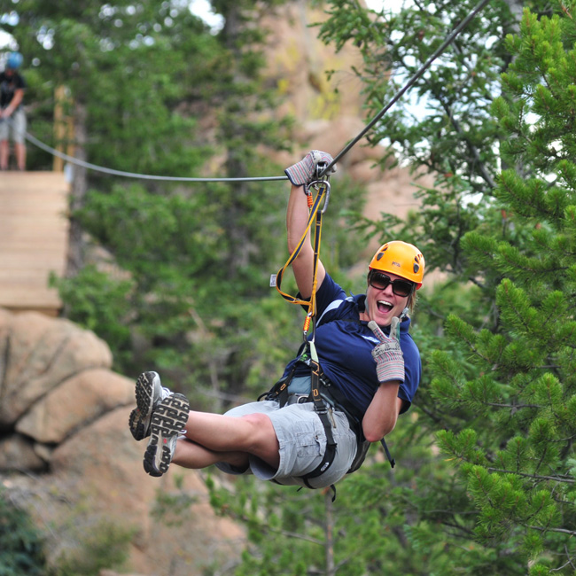 Ziplining in Rocky Mountains