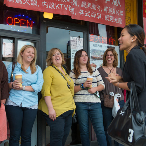 Tour Guide Leading Chinatown Food Tour in Chicago