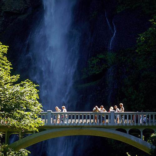 Amazing Bridge View of Waterfall in Columbia Gorge in Portland
