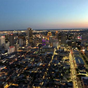 Downtown New Orleans During City Lights Heli Tour