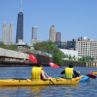 Beautiful View During Architectural Kayak Tour in Chicago