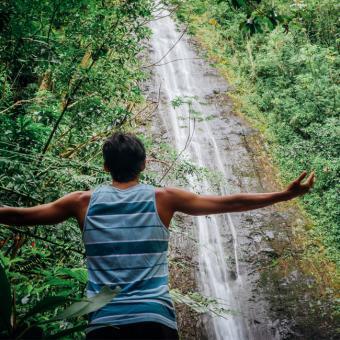 Enjoying Manoa Falls during Hawaii Tour