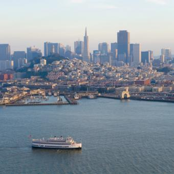 View of Cruise Ship and San Francisco