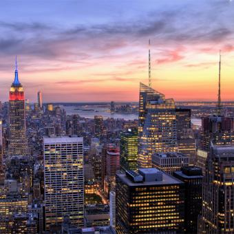 Sunset during Romantic Helicopter Flight in New York