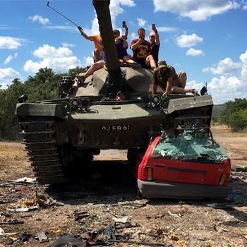 Crush a Car in a Chieftain MK6 Tank
