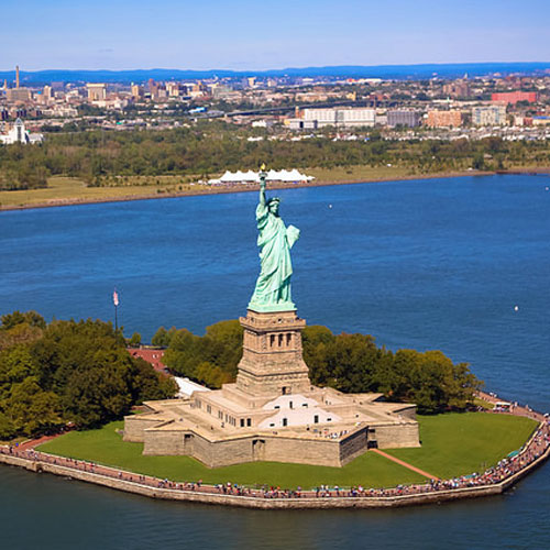 Over Look of Statue of Liberty in New York
