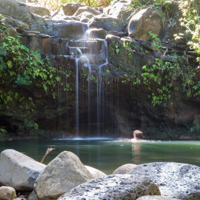 A Dip in the Falls on Maui