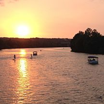 Sunset during Romantic Dinner Cruise in Austin