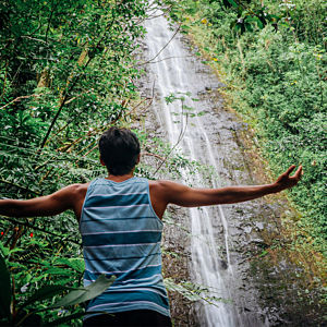 Enjoying Manoa Falls during Hawaii Tour