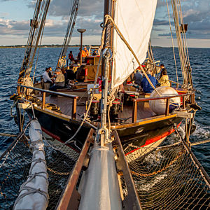 Sailing on the Mystic Whaler during Sunset Cruise