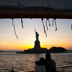 Couple Enjoying New York Sunset Sail