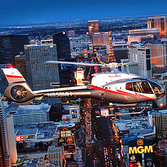 Food and Helicopter Tour at Night in Las Vegas