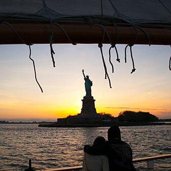 Couple Enjoying New York Sunset Sail