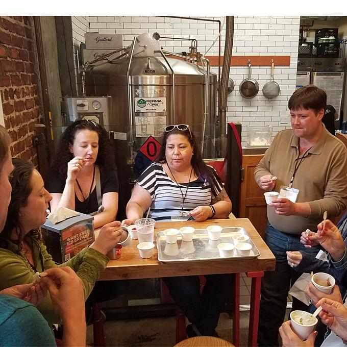 Taste testing during Fillmore Street Food Tour