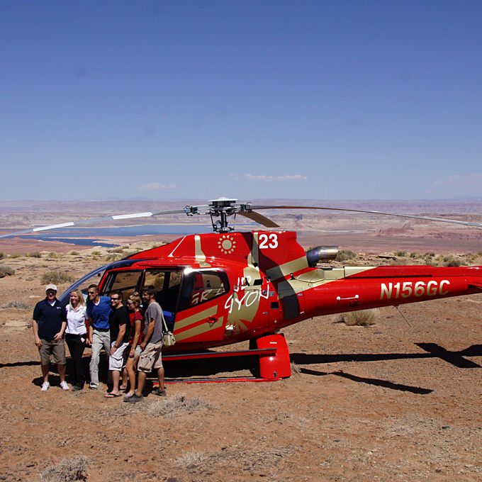 Helicopter Landing on Tower Butte, Grand Canyon