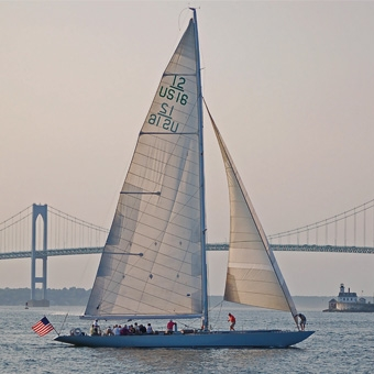 Sailing during Air & Sea Tour in Newport