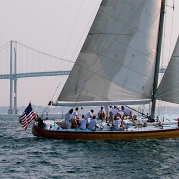 Sailing during Sip & Sail Cruise near Boston