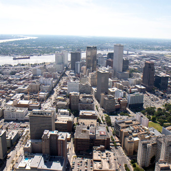 Downtown New Orleans during Extreme Heli Tour