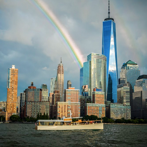 New York Skyline with Wine and Cheese cruise boat