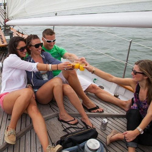 Toasting Champagne on NYC Brunch Cruise