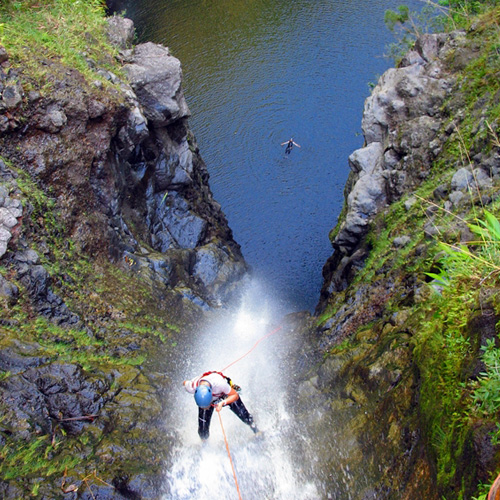 Rappel a Waterfall in Hawaii