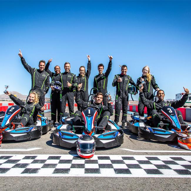 Group Celebrating after SuperKart Racing