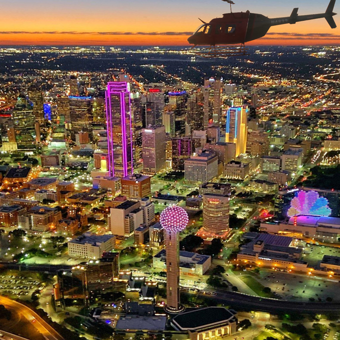 Skyline Helicopter Tour at Night in Dallas